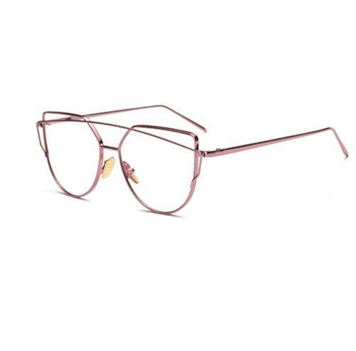 Fhouses Vintage Brille Ohne Stärke Metallrahmen Brillenfassung Pilot Brille Dekobrillen Damen Herren