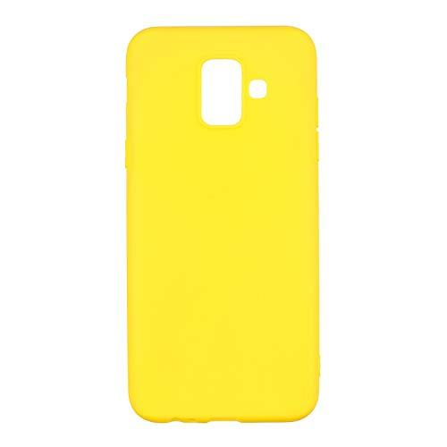 cuzz Funda para Samsung Galaxy J6+ /J6 Plus+{Protector de Pantalla de Vidrio Templado} Carcasa Silicona Suave Gel Rasguño y Resistente Teléfono Móvil Cover-Amarillo