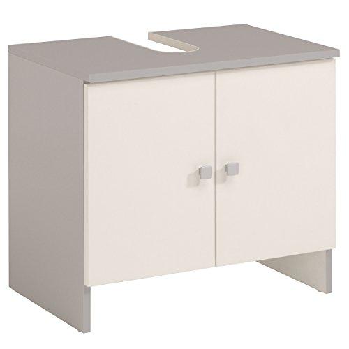 Infinikit capri - mobile per il bagno, due sportelli, stile portacatino, colore bianco e grigio alluminio