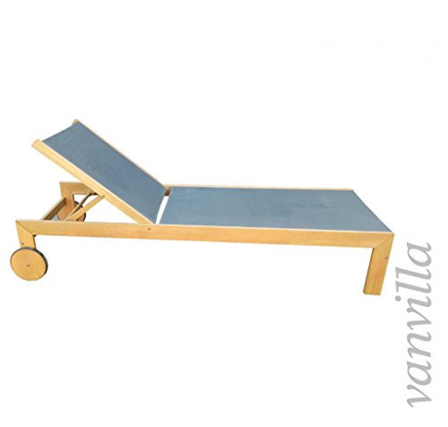 vanvilla Sonnenliege Gartenliege Holz Relaxliege Liegestuhl Ramos Bespannung Grau