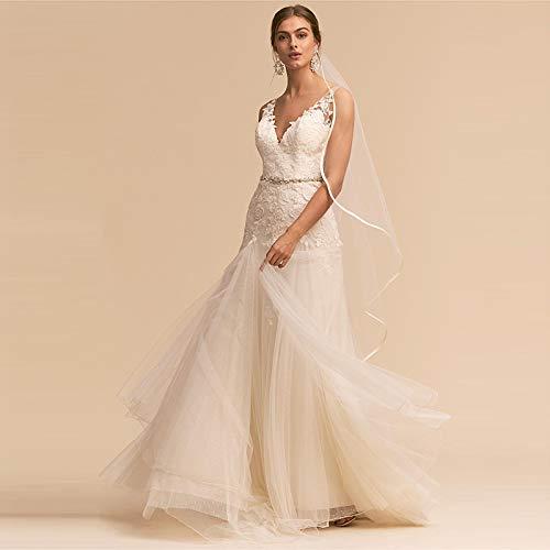 WJZ Sen Hochzeitskleid Schön Und Elegant Reise Brautkleid Brideswear Rückenfreies V-Ausschnitt...