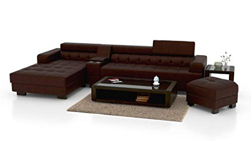 Zikra's Boston Leatherette L Shape Sofa RHS Aligment Solid Sal Wood Sofa, Colour- Brown with one pouffey