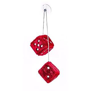 Plüschwürfel als Paar mit Band und Saugnapf, verstellbar, 7,5 cm, lieferbar in den Farben Rot, Blau oder Weiß (Rot)
