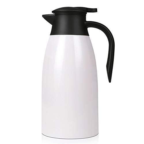 2 Litre Stainless Steel Vacuum Jug Coffee Tea Carafes Thermal Flask Insulated Pot for Hot & Cold Drinks Drip-Free Coffee Tea Vacuum Pot, White
