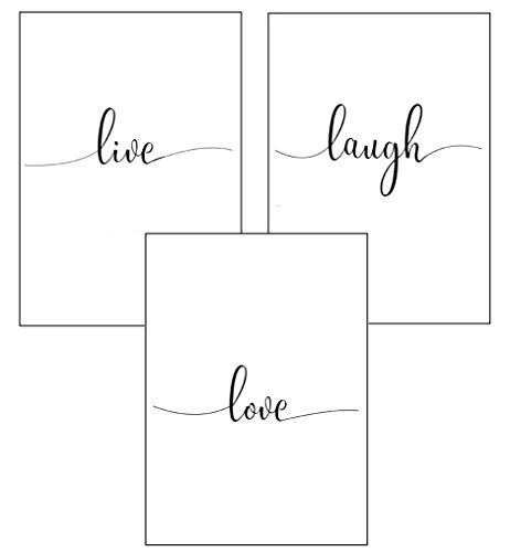 4Good Wandbilder Wohnzimmer als lustige Sprüche, Motivations Bilder fürs Büro oder die Küche, Bild mit Spruch als Schlafzimmer Poster ohne Rahmen (Life-Laugh-Love, A4) thumbnail