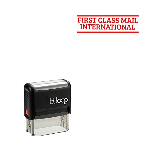 FIRST CLASS MAIL INTERNATIONAL' Self-Inking Office Stamp, Rectangular Sport Lettering