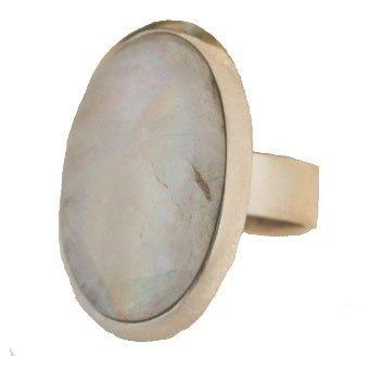 Ring aus 925er Silber verstellbar mit ovalem Mondstein