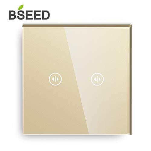 SEED Touch Curtain Schalter 2 Gang 1 Way Gold Berührungsempfindliche Vorhangschalter Touchscreen Gehärtetes Glas 86mm mit Neutralleiter -