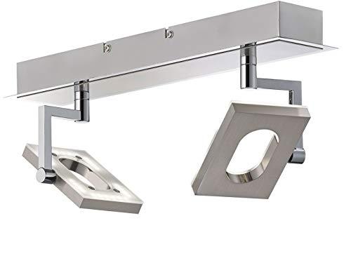 Topmoderne, dimmbare LED-Deckenleuchte, 2 schwenkbare Spots, SHINE-LED, Fischer-Leuchten 19202