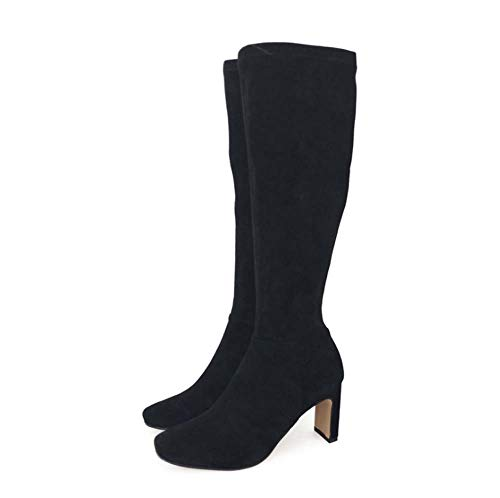 HYLFF Ladies Womens Winter Sexy Stretch Pull On Stiletto High Heel Platform Over Knee Thigh Knee Boots Slim Calf Stretch Zip Up Shoes Boots Boots,Black,36EU