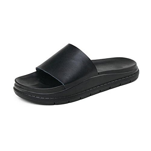 Heart&M Casual talon plat Sole Mid Plate-forme des femmes Solid Color PU Chaussons Sandals Black