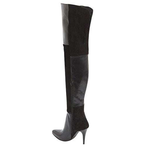 Frauen haben die hochhackigen flickenteppich in den knie - stiefel Schwarz