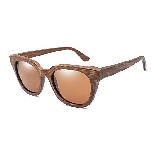 Yiph-Sunglass Sonnenbrillen Mode Alle Bambus-Farbfilm polarisierte Sonnenbrille für Männer und Frauen Holz Brille Bambus Holz Sonnenbrille (Color : Braun, Size : Kostenlos)