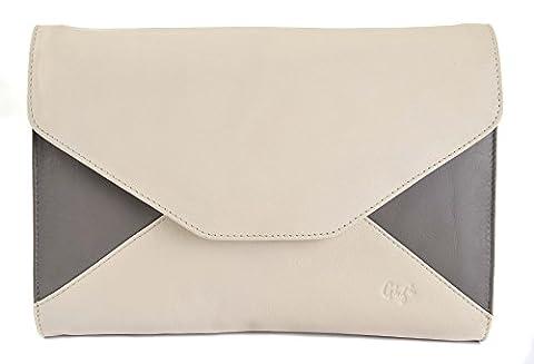 GIGI Othello Women's Leather Two Tone Clutch Envelope Handbag Bag 4133 (Ivory & Taupe)