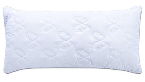 Sei Design Luxus Mikrofaser Komfort Kopfkissen, gesteppt, Füllung aus 3-D Faserkügelchen - sehr weich und angenehm - Stützkraft regulierbar durch Reißverschluss. Eine eingearbeitete perlweiße Kante verleiht dem Kissen eine besondere Elegance (40x80, Schmetterling, perlweiß)