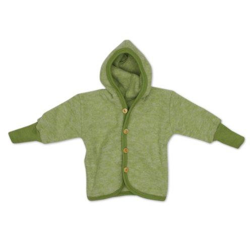 Cosilana Baby Jäckchen mit Bund aus weichem Wollfleece, Größe 86/92, Farbe Grün Melange, Wollfleece 100% Schurwolle kbT -
