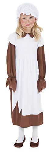 Armes viktorianisches Mädchen Kostüm Braun mit Kleid und Mütze, Medium