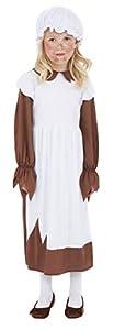 Smiffys- Disfraz de niña Victoriana pobre, Vestido y Gorro, Color marrón y blanco, M - Edad 7-9 años (Smiffy
