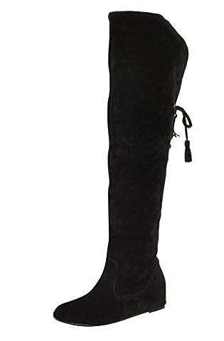 SMITHROAD Damen Mädchen über kniehohe Stiefel Winterstiefel Schneestiefel Warmfutter Schneeschuhe Wedges mit Absatzerhöhung 4cm Lace Up Schwarz (Kniehohe Slippers)