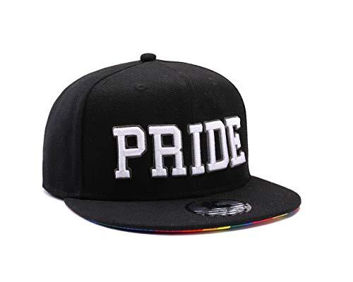Gay Pride Baseballkappe mit Verschlussband, schwarz mit Regenbogenfarben, baumwolle, Pride White on Black, Einstellbar