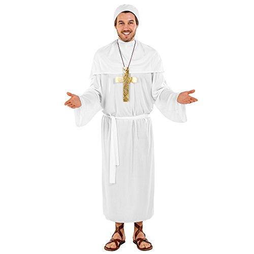 TecTake dressforfun Herrenkostüm Papst Johannes | Lange, Bequeme Robe | wundervolles Cape | inkl. Papst-Haube, Kreuzkette & Bindegürtel (XXL | Nr. 300499)