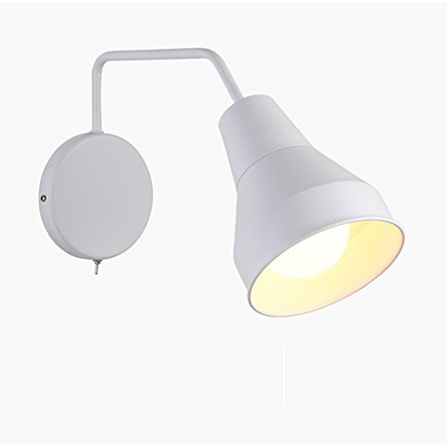 GBT Wall LampIron Lamp Body Lampshade E27 Light Source Scandinavian Minimalist Living Room Wall Lamp Creative Rotary Switch Bedside Bedside Lamp Creative Study Background Wall Lamp (Rotary Light Switch)
