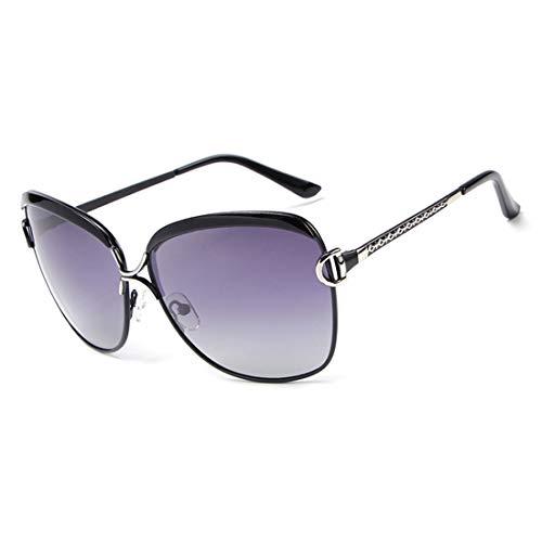 Yiph-Sunglass Sonnenbrillen Mode E016 Retro Fashion UV-Schutz polarisierte Sonnenbrille für Frauen (Farbe : Schwarz)