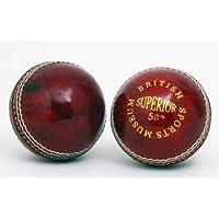 British Sports Museum Impresionante Rojo 5 1/2oz Cuero Pelota Cricket