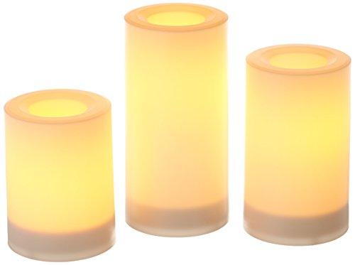 Inglow Flameless redonda al aire libre velas con temporizador, blanco, juego de 3