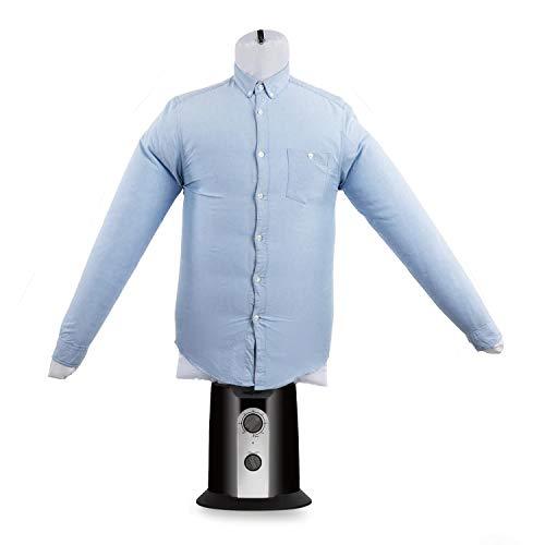 oneConcept ShirtButler • automatischer Hemden-Trockner • Hemden-Bügler • Bügelpuppe mit Heizgebläse • 2-in-1 • Easy-Dry • Multi-Size: S-L • bis 65 °C • schwarz