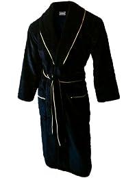 John Christian peignoir en velours à col châle de qualité supérieure - 100% Coton - Homme - Noir avec PassePoil Or