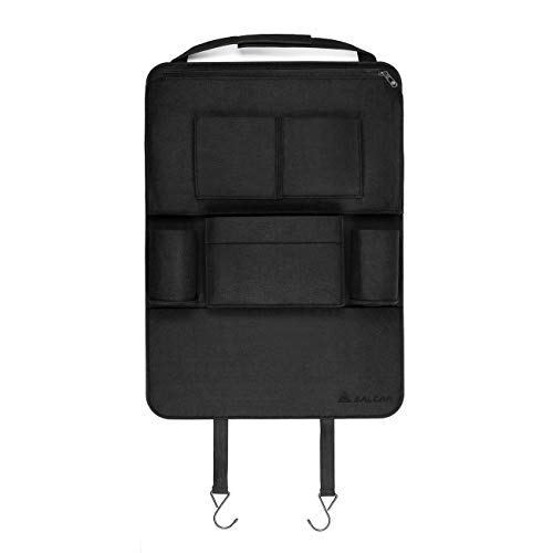 Salcar Auto-Rückenlehnenschutz Autorücksitzorganizer Auto Organizer Multifunktionale Stuhl Zurück Aufbewahrungstasche für Kinder Kick Matte für iPad,iPhone,DVD,Getränke, Filz 58 x 42cm, Schwarz