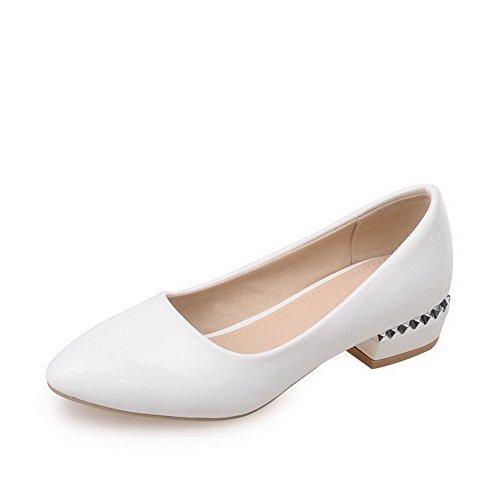 AllhqFashion Femme à Talon Bas Verni Couleur Unie Tire Pointu Chaussures Légeres Blanc