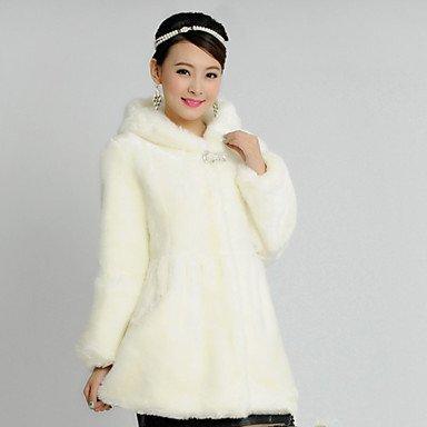 GS~LY Cappotto di pelliccia Da donna Casual / Da party/cocktail / Per uscire Autunno / Inverno Sensuale / Semplice / Stoffe orientali,Tinta , white , 6xl