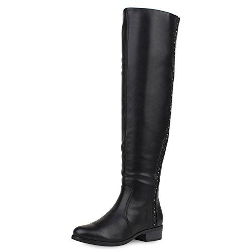 napoli-fashion Gefütterte Damen Stiefel Flache Overknees Langschaft Boots Schwarz Schuhe Schwarz Black 37 Jennika (Flache Stiefel Damen)