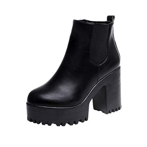 VJGOAL Damen Stiefel, 10CM Damen Fashion Square Heel Plateaus Lederstiefel Casual Oberschenkel Hohe Pumpe Winter Herbstliche Schuhe (Schwarz, 36 EU)