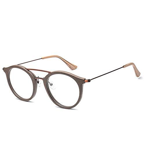 Männer Und Frauen Fashion Classic Vintage Runde Holzmaserung Brillengestell Brillengestell Für Brille (Color : 01 Kaffee, Size : Kostenlos)