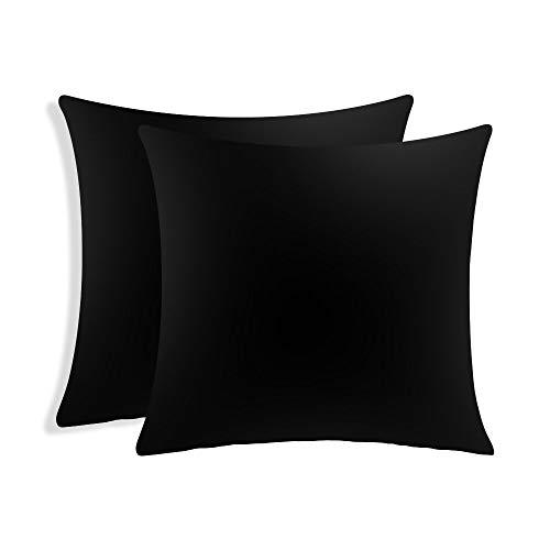 Tamumu Set von 2 Luxus Samt Kissenbezug Werfen Dekorative Kissenbezüge 45 x 45 cm Schwarz -