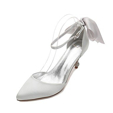 Wuyulunbi @ Femmes Chaussures Printemps Été Satin Dorsay & Base De La Pompe En Deux Parties Chaussures De Mariage Confort Bowknot Orteils De Strass Étincelants Glitter Silver
