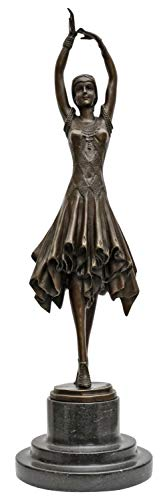 aubaho Bronzeskulptur Bronze Figur Frau Kita nach Chiparus Skulptur Antik-Stil Replik