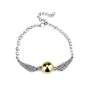 Armband – Mago Harry – Goldener Schnatz – Flügel – Farbe Silber – Goldperle – Frauen – Mädchen – Unisex – Geschenkidee
