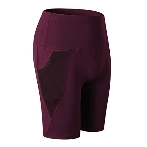 QIMANZI Sporthose Damen Fitnesshose Yoga Leggings Sporthosen Fitness Stretch Tights Shorts Compression Sports Kurze Hosen(Wein,S) -