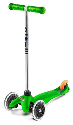 Micro Mini LED, Patinete 2-5 Años, Carga máx 50kg, Peso 1,95kg (Verde)