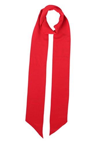 Prettystern - breit 10 cm Skinny 200cm Seidenschal 2-lagig Seide uni-Farbe Krawattenschal - 3. rot (Skinny Schal Silk)