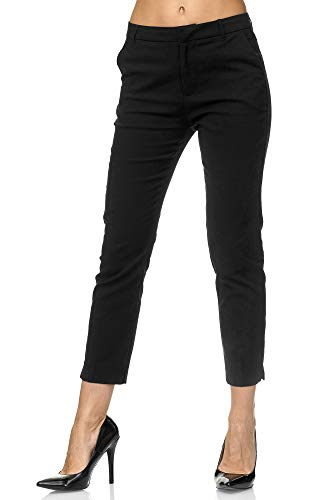Elara Damen Chino Hose Schick Slim Fit Stoffhose Chunkyrayan VS19001-1 Black-36