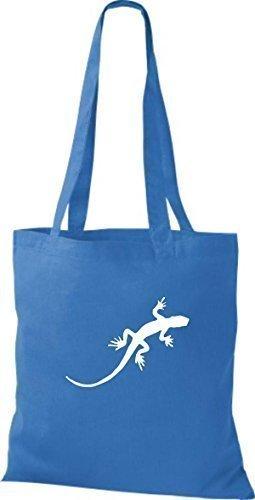 ShirtInStyle Stoffbeutel Gecko Echse Leguan Baumwolltasche Beutel, diverse Farbe bright royal