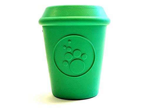 SodaPup Hundespielzeug - Kaffeetasse, langlebig, Naturkautschuk, Kauspielzeug und Leckerlispender für Aggressive Kauen, garantiert robust, Größe L, Grün