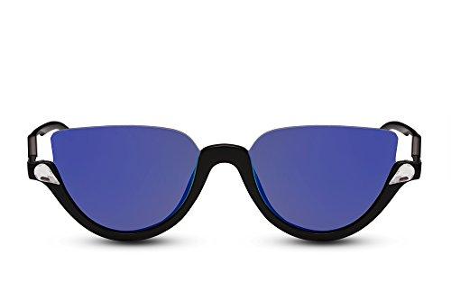e Rund Schwarz Blau Verspiegelt Designer-Brille Modisches Gestell UV-400 Hipster Damen Herren ()