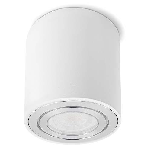 SSC-LUXon CELI-3W Aufbaustrahler LED Bad IP44 in weiß - inkl. wechselbarem LED GU10 5W warmweiß - runde Badezimmer Deckenlampe