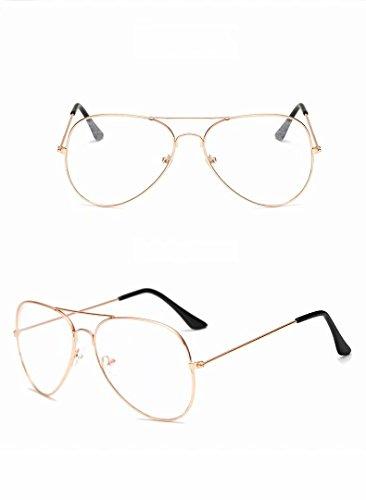 Waymeduo Vogue Brille Nerd brille Retro Rund Unisex Gold Linse breite